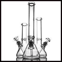 bong de vidrio de 9mm de espesor al por mayor-Tubería de agua de vidrio súper pesada vaso de vidrio de 9 mm de grosor bongs tres tamaño alto 12 14 18 pulgadas de vidrio bong 18.8 mm conjunta