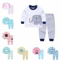 kleinkind t-shirt druck großhandel-6 Sätze Baby Pyjamas Sets Baumwolle Printing Nachtwäsche Anzüge Kleinkind Infant Casual Langarm T-Shirt + Hosen Neugeborenen Kleidung Q01