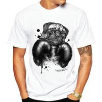 Wholesale 3xl dog clothing - SharPei boxer t shirt Boxing Shar pei dog short sleeve gown Sport tees Unisex clothing Quality modal Tshirt