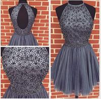 dos gris robes de soirée achat en gros de-New Style Silver Grey Homecoming Dress Top perlé court robe de bal Graduation Et Retour à l'école Robes Robe de soirée Vêtements de cérémonie