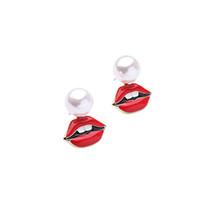 botones de labios rojos al por mayor-Marca Aleación Esmalte Red Lip Simulated Pearl Earrings Kiss Me Moda Mujeres Accesorios Stud Pendientes de Regalo de Navidad