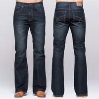 Wholesale mens flare jeans - Mens jeans tradition boot cut leg fit flare jeans famous brand deep blue male jeans classic stretch pants