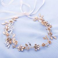 ingrosso gioielli della fascia di fronte-Fascia in oro a mano Fascia per capelli da sposa Gioielli per capelli Corona di cristallo per capelli Accessori per capelli Fascia per le donne