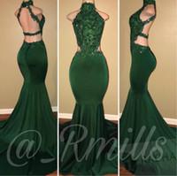 yeni zümrüt balo elbiseleri toptan satış-Yeni Emerald Green seksi Mermaid Gelinlik 2020 Yüksek Boyun Kolsuz Dantel Aplike Backless Akşam Parti Abiye Nijerya Afrika BA7697