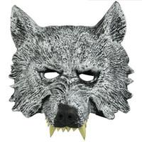 маски для лица для детей оптовых-Fun Halloween Masquerade Party Masks Animal Full Face Wolf Mask for Kids Adult Birthday Gift