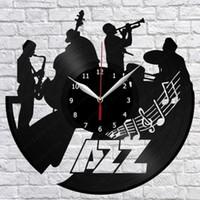fã de jazz venda por atacado-Jazz Music Vinyl Record Relógio De Parede Fan Art Home Decor Arte Da Parede Do Vintage Os Melhores Presentes para Jazz Lover (Tamanho: 12 polegadas Cor: Preto)