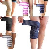 эластичные спортивные повязки колено оптовых-120*7.5 см Пауэрлифтинг эластичный бинт сжатия ноги теленка колено поддержка ремешок обертывания группа скобка спортивная безопасность