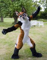 roupas para festa de aniversário venda por atacado-OISK Custom Made Fox Wolf Fursuit trajes da mascote Outfits Halloween desempenho aniversário extravagante vestido de festa