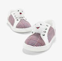 ingrosso scarpe bambino rosso plaid-Autunno nuovo bambino cute pet peluche decorativo vino rosso a strisce plaid scarpe casual morbide scarpe basse