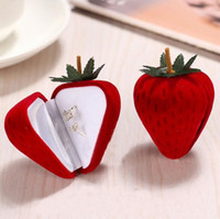 Wholesale Plastic Flock Box - Jewelry Box Cute Strawberry Flocking Ring Jewelry Case Earring Ear Stud Case Gift Container Display Box Jewelry Packaging GA41