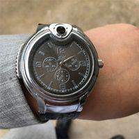 reloj de gas butano recargable al por mayor-2018 de lujo encendedor militar reloj novedad para hombres mujeres relojes de cuarzo recargables de gas butano cigarillo relojes con diamantes