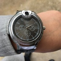 Wholesale watch refillable butane gas cigarette for sale - Group buy 2018 Luxury Military Lighter Watch Novelty For Man Women Quartz Sports Refillable Butane Gas Cigarette Cigar Watches with diamond