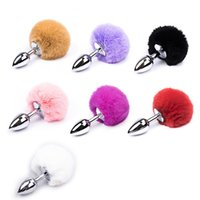 Wholesale Anal Bunny Tail - 7 Color Small Size Metal Rabbit Tail Anal Plug Stainless Steel Bunny Tail Butt Plug Anal Sex Toys for Women Adult Sex Products
