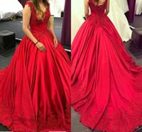 vestidos de noche de satén rojo cuello v al por mayor-Vestidos de noche rojos de moda Corsé Lace Up Volver una línea de cuello en V apliques de encaje Satén elegante mujeres Vestidos de noche formales Girls Party Dress