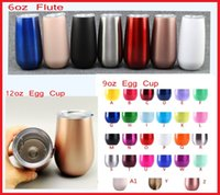 Wholesale double walled tumbler stainless - 6oz Flute 9oz 12oz Egg Cup Wine Glass Stainless Steel Tumbler Double Wall Vacuum Beer Mug Wedding party champagne glass With lid