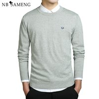 Wholesale plus size white sweater - 2018 New Fashion Men Winter Embroidery Sweaters O-Neck Long Sleeve Knitted Sweatercoat Imported-clothing Plus Size 3XL