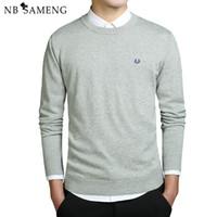 más suéteres de tamaño al por mayor-2018 Nuevos Hombres de la Moda de Invierno Suéteres Bordados O-cuello de manga larga de punto Sweatercoat Imported-ropa más el tamaño 3XL