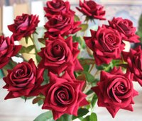 Wholesale Flower Shop Displays - Velvet Cute Artificial Rose Fake Silk Flowers with Leaf Home Wedding Shopping mall Decor Bridal Floral DIY