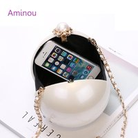 Wholesale ivory pearl clutch - Wholesale- AMINOU Women Round Bag Acrylic Clutch Pearl Purse Handbag Mini Bolsa Redonda Ladies Evening Party Wedding Bags