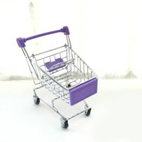 держатель корзины для покупок оптовых-Super Mini Supermarket Handcart Trolley Shopping Utility Cart Phone Holder Office Desk Storage Toy Cart Baby Toy