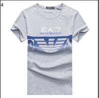 Wholesale Men High Collar T Shirt - Summer New 2018 casual EA7 round collar short sleeves T-shirt Fashion Men High Quality Cotton Tshirt Casual men Tee T-shirt size M-XXL