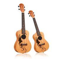 ukulele 23 polegadas venda por atacado-23 polegadas / 21 polegadas Ukulele Concerto 4 Instrumentos Musicais Cordas 18 Frets Mogno pássaro sorte Escolha