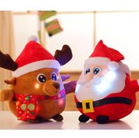 Wholesale plush santa stuff online - LED Music Christmas Plush Dolls cm cm Santa Elk Light Up Stuffed Plush Colorful Glowing Christmas Gift Novelty Items OOA5868