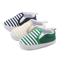 Wholesale cute baby girl cribs - Cute toddler baby girls boy striped anti-slip shoes sneakers soft sole crib shoes 3-12M free shipping
