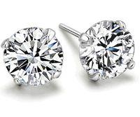 cristal de plata esterlina al por mayor-2016 moda 925 joya esterlina de cristal lleno de plata aretes de compromiso para las mujeres joyería de las muchachas al por mayor 4mm 5mm 6mm