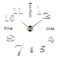 gerçek çıkartmalar toptan satış-Yeni 20 adet Kuvars saatler moda saatler 3d gerçek büyük duvar saati koştu ayna sticker diy oturma odası dekor