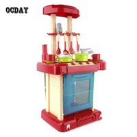 Wholesale Pink Girls Play Kitchen - OCDAY Multifunctional Children Play Toy Girl Baby Toy Large Kitchen Cooking Simulation Table Model Utensils Toys Hot Selling