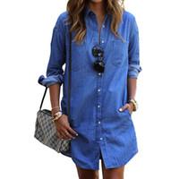 mujer vaquera al por mayor-Nueva primavera Casual Camisa de vaquero Mujer Demin Manga larga Tallas grandes Bajar el cuello Camisa larga Vintage Jean Blusa azul