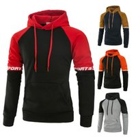 Wholesale front stand for sale - 4 Colors Men M XL Contrast Color Active Hoodie Men Stand Collar Hooded Slim Brief Long Sleeve Front Pocket Hoody Sweater CCA9187