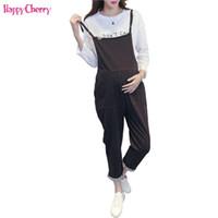 eacea135c Happy Cherry maternidad overoles pantalones embarazadas cuidado de las  mujeres pantalones de vientre flojo ocasional denim negro embarazo ropa mono