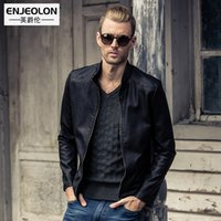Wholesale Leather Collar Chain Cuffs - Wholesale- Enjeolon brand Motorcycle Leather PU Jackets Men, Winter fashion Clothing,zipper cuff stand collar Male Casual black Coat P240