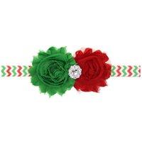 sonnenblumen zubehör groihandel-TOP-Baby-Weihnachtsfest SunFlower Satin Stirnbänder 2ST handgemachte Blumen mit Strass Krawatte Bogen Mädchen Zu CB10