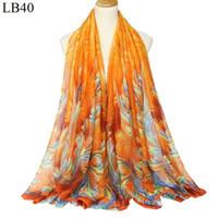 ingrosso pashminas di pavone-2018 primavera Voile Soft Scarf donna Lady Peacock Flower print lady Sciarpa lungo morbido avvolgente scialle Stola Pashmina