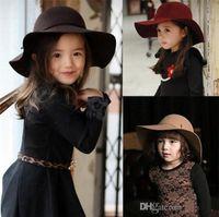 Autumn Winter Warm Kids Boys Girls Vintage Wide Brim Cap Soft Wool Felt Bowknot Bowler Floppy Children Sun Hat Beach Hat TO501