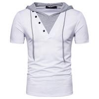 ropa falsa al por mayor-Falso dos camiseta casual tamaño Eur Manga corta con capucha Hombres Hip Hop Use High Street Clothes S-2XL