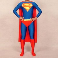 Wholesale boys superman halloween costumes - Adult Childrens Mens Womens Halloween Cosplay Superman Costumes Boy Men Spandex Zentai Lycra Material Superhero Costume 2XS-6XL