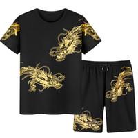 çince kıyafet boyutları toptan satış-Erkek Eşofman Ejderha Baskı Giyim Seti Çin Tarzı Üstleri + Pantolon Erkekler Için Atletik Eşofman Artı Boyutu 3XL-9XL