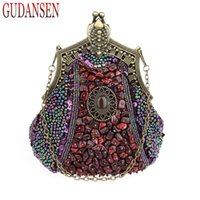 Wholesale clutch frame purse - GUDANSEN Handmade Vintage women clutch Evening Bags Stone style Beaded Delicate Banquet Wedding Party bag purses and handbags