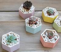 mini-bonsai-dekoration großhandel-Heißer Verkauf Keramik Bonsai Töpfe Mini Multicolor Blumentöpfe Home Desktop Sukkulenten Pflanzgefäße Garten Liefert Schlafzimmer Büro Dekoration