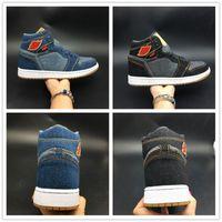 chaussures de marque les plus vendues achat en gros de-Denim Basketball Shoes 1s Le Bleu Noir High Shoes 2018 Nouveau Designer HOT Vente Hommes Sneakers Avec Box Original
