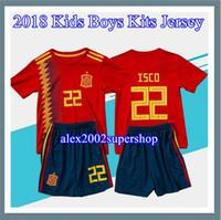 camisetas juveniles de españa al por mayor-2018 Niños España Jersey niño juvenil España kits RAMOS ISCO PIQUE SERGIO INIESTA ASENSIO THIAGO MORATA casa camiseta conjunto jersey.