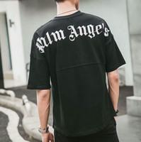camiseta de las mujeres del hombro al por mayor-2019SS Palm Angels Impresión de letras Hombres Mujeres camiseta Hip Hop Palm Angels Ropa Moda Hombro Top Tee OVERSIZE Negro blanco S-XXL