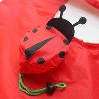 bolsas ecológicas lindas al por mayor-2017 Lindo Animal Septempunctata Forma Plegable Bolsa de Compras Respetuoso del medio ambiente de Las Señoras Regalo Plegable Reutilizable Tote Bag Portable Travel S