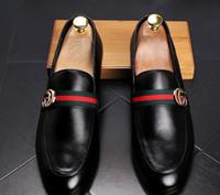 ingrosso men s italian leather shoes-Scarpe da uomo di design di lusso in pelle casual guida oxford appartamenti scarpe da uomo mocassini di marca mocassini scarpe italiane per gli uomini d2h1