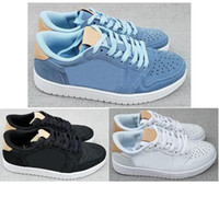 Wholesale Premium Ice - High Quality 1s Low OG Premium Men Basketball Shoes 1 Premium Ice Blue Black White Vachetta Tan Sneakers With Shoes Box
