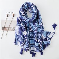 кисточки для женщин оптовых-Women Antumn Winter Tassel Scarf  eometric Print Viscose Scarves Wrap Long  Shawls Hijab Muslim Headband